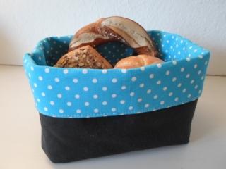 Brotkorb *Milano*  Baumwolle  schwarz/ türkis(sehr fest) von friess-design  - Handarbeit kaufen