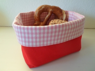 Brotkorb *Alto Adige* rot/ rosa-weiß kariert Baumwolle (sehr fest) von friess-design  - Handarbeit kaufen