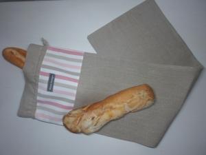 Baguettebeutel *de luxe* Leinen beige/rosa gestreift von friess-design mit Baumwollkordel