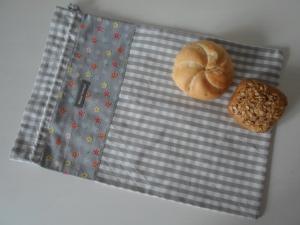 Brotbeutel *speciale* Baumwolle grau-kariert/ bunt von friess-design mit Baumwollkordel  - Handarbeit kaufen