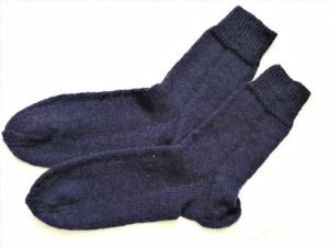 Wollsocken in Größe 40/41 handgestrickt dunkelviolette  für Frauen und Männer - Handarbeit kaufen