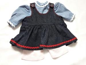 Puppenjeansträgerrock blau mit Shirt und Leggings für Puppen mit einer Größe von 35-40 cm - Handarbeit kaufen