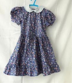 Sommerkleid in Größe 98/104 kurzärmelig blau geblümt , mit Petticoat für Mädchen  - Handarbeit kaufen
