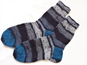 Wollsocken in Größe  26/27 handgestrickt grau bunt geringelt für Mädchen und Jungen - Handarbeit kaufen