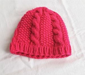 Wollmütze handgestrickt pink für Mädchen von 1 bis 3 Jahren - Handarbeit kaufen