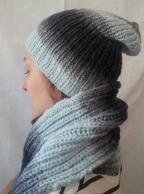 SALE - Wollmütze mit Schal, handgestrickt, in verschiedenen Grautönen in  Größe M für Frauen und Männer - Handarbeit kaufen