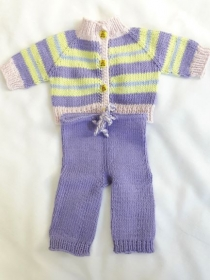 Puppenanzug handgestrickt lila lindgrün zartrosa geringelt für Puppen von Größe 40-45 cm - Handarbeit kaufen