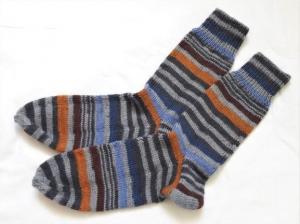 Wollsocken in Größe 36/37 handgestrickt grau, blau, braun geringelt  für Mädchen und Jungen - Handarbeit kaufen