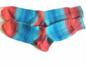 Wollsocken in Größe  46/47 handgestrickt türkis braun geringelt  für Frauen und Männer - Handarbeit kaufen