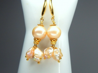 Perlentraum in aktueller Farbe! Barocke Perle  Perlenohrhänger Perlenohrringe 925 Sterling silber vergoldet