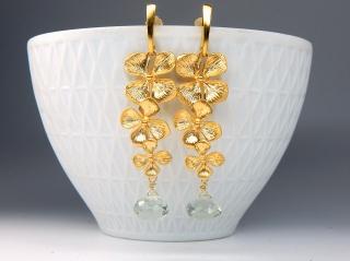 Orchideen & Prasiolith...unvergänglich!  Ohrhänger 925 Silber vergoldet