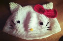Kinder Mädchen Damen Beanie Mütze - Katze Cat- weiß