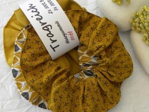 Haargummi-Set 2 St. Baumwolle und 1 St. Viskose Gelb/Blau/Weiß  - Handarbeit kaufen