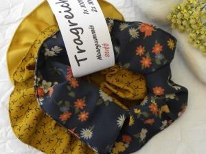 Haargummi-Set 1 St. Baumwolle und 2 St. Viskose Gelb/Blau gemustert