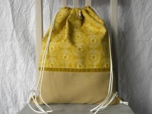 Turnbeutel-Rucksack Gelb Velour/Baumwolle Samtband mit Innenfächern - Handarbeit kaufen