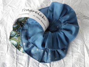 Haargummi-Set 3 St. Baumwolle Jeansblau mit Sternchen, Blau und Türkis-Grün gemustert - Handarbeit kaufen