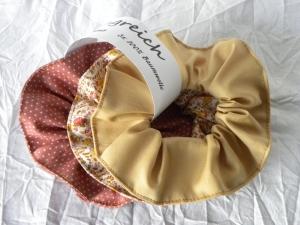 Haargummi-Set 3 St. Baumwolle  Altrosa, Gold und Rosa-Beige gemustert