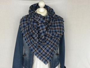 Großes Dreieckstuch blau/grau kariert  100% Baumwolle  - Handarbeit kaufen