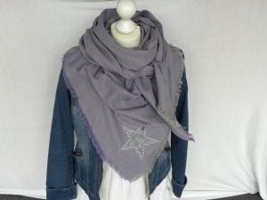 Großes Dreieckstuch/Schultertuch  Flanell zart violett mit Stern