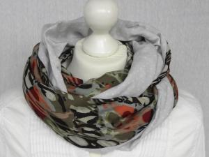 Loop gemustert grün, orange-rot, schwarz, hellgrau, weiß Baumwolle und Viskose