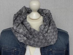 Loop dunkel blau/weiß Karo und Streifen Baumwolle