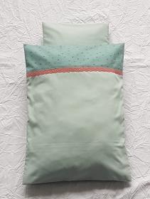 Puppenbettwäsche Baumwolle Mintgrün / Graugrün, mit extra Kissen  - Handarbeit kaufen