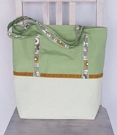 Schopper / Einkaufstasche hellgrün und gelb mit Reißverschluss-Innentasche und Schlüsselband - Handarbeit kaufen