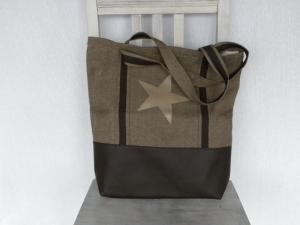 Schopper / Einkaufstasche Kunstleder und Leinen braun mit Reißverschluss-Innentasche und Schlüsselband - Handarbeit kaufen