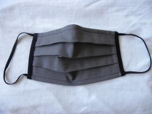 Stoffmaske, Mund-Nasen-Schutz mit Falten, für Männer Größe M, grau