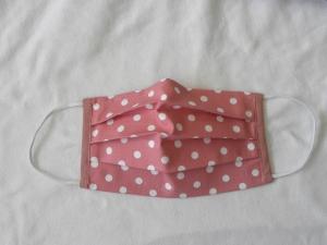 Stoffmaske, Mund-Nasen-Schutz mit Falten, für Frauen Größe M, altrosa mit weißen Punkten - Handarbeit kaufen