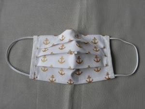 Stoffmaske, Mund-Nasen-Schutz mit Falten, für Frauen Größe S, weiß mit goldenen Ankern