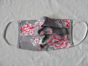 Stoffmaske, Mund-Nasen-Schutz mit Falten, für Frauen Größe M, grau mit Blüten in rosa/pink