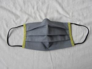 Stoffmaske, Mund-Nasen-Schutz mit Falten, für Männer Größe M, dezent rauchblau