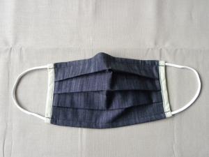Stoffmaske, Mund-Nasen-Schutz mit Falten, für Frauen Größe M, schwarz-weiß meliert Jeansoptik - Handarbeit kaufen