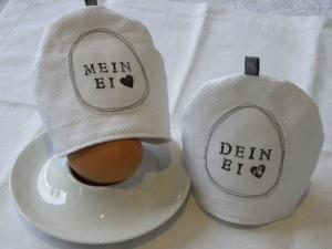 Eierwärmer - Eierhütchen 2 St.( Mein Ei - Dein Ei), gestempelt, weiß/schwarz  - Handarbeit kaufen
