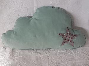 Wolkenkissen ☆ Schmusekissen ☆ für Kinder ☆ Babycord mintgrün mit Stern Jersey bordeax, rosa mint mit Kreisen - Handarbeit kaufen