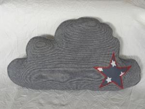 Wolkenkissen ☆ Schmusekissen ☆ für Kinder ☆ Sweat in blau mit Stern blau mit weißen Sternen - Handarbeit kaufen