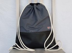 Turnbeutel-Rucksack ☆ Kunstleder schwarz und Ripsgewebe grau ☆ mit Innenfächern   - Handarbeit kaufen