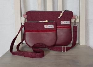 Kleine Umhängetasche und Kosmetik-Täschchen im Set ☆ Bordeauxtöne ☆ Kunstleder und Jeans-Stoff - Handarbeit kaufen