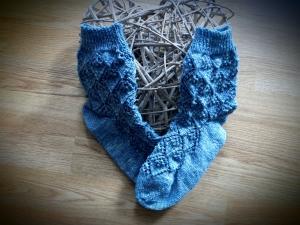 ♥ - Handgestrickte Socke mit Baumwollanteilen in Gr. 38/39 - ♥