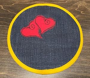 Untersetzer_Doppelherz_20cm_Jeans_mit Herz_APPLI - Handarbeit kaufen
