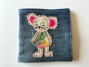 Nadelbriefchen bestickt mit Maus ca. 11 x 11cm - Handarbeit kaufen