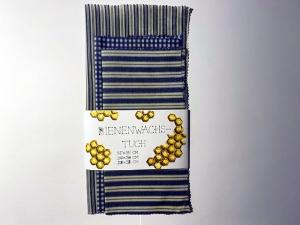 3_Bienenwachstücher_aus_Bio-Baumwolle_35x35_30x30_und_28x28cm_Blau-Weiß