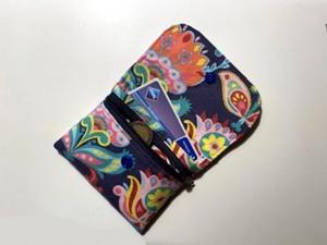 Kleines Portemonnaie ca. 11 x 9cm mit Reißverschlusstasche_Blau_bunt - Handarbeit kaufen