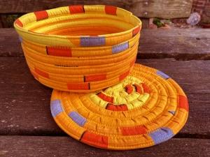 Brotkörbchen_Utensilo_25cm_mit_Untersetzer_25cm_Gelb_Bunt_Baumwolle - Handarbeit kaufen