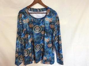 Longshirt mit Motivdruck Mandala Marine, Türkis Größe 44/46 Jersey  - Handarbeit kaufen