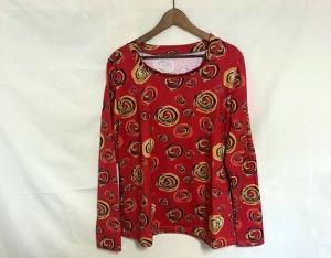 Longshirt mit Motivdruck Rot mit Kringeln, 44/46 Jersey  - Handarbeit kaufen