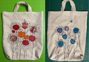 Einkaufsbeutel XL bestickt Machinenmalerei Blumenmotiv Rot oder Blau ca. 45 x 55cm plus breiten Henkeln - Handarbeit kaufen