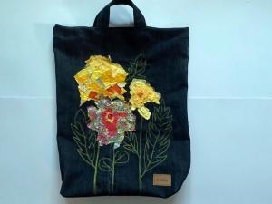 Jeans-Einkaufsbeutel bestickt Machinenmalerei Blumenmotiv in Konfetti-Technik ca. 35 x 50cm plus breiten Henkeln