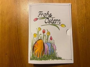 Grußkarte Ostern mit eingelegtem 50cm Schlüsselband